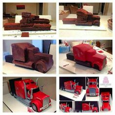 Tutorial for Truck cake Cake Decorating Techniques, Cake Decorating Tutorials, Semi Truck Cakes, Cupcakes, Cupcake Cakes, Truck Birthday Cakes, Cake Structure, Cake Shapes, Sculpted Cakes
