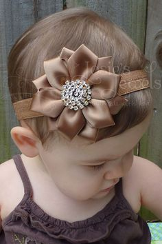 Mocha Brown Satin Flower Infant Toddler by JosiesJewels2011, $12.99