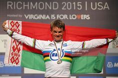 Vasil Kiryienka of Belarus celebrates stands on the podium after winning the Elite Men Time Trial on day five of the UCI Road World Championships on September 23, 2015 in Richmond, Virginia.
