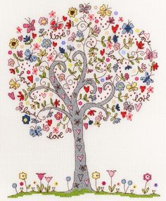 Love Tree(XKA2)   Love themed cross stitch kit byBothy Threads, designed by Kim Anderson. Includes the addition of beads for added embellishment.  Contents: 14 count white aida, cotton threads, metallic silver thread, beads, flower sequins, chart, needle and full instructions.  Size: 24cm x 30cm  RRP £28.49