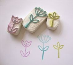 Little Garden Hand Carved Rubber Stamp Set wood buttons! loving this grass stamp! Diy Stamps, Homemade Stamps, Foam Stamps, Fabric Stamping, Stamping Up, Rubber Stamping, Tampons En Mousse, Eraser Stamp, Stamp Carving