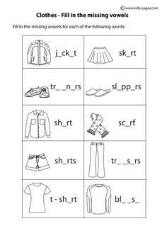 Clothes Fill In B&W worksheets