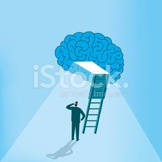Man is looking at the bright sight of the brain royalty-free stock vector art