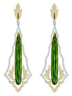 Spark Creations green tourmaline flame earrings