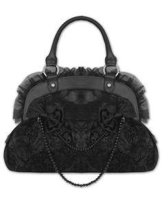 black handbag with bows,pearls & ruffles <3