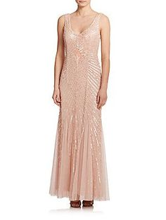 Aidan Mattox Bridesmaids Sequined Godet Bridesmaid Gown