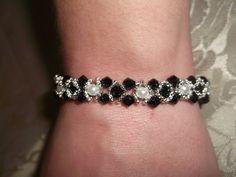 Bead woven bracelet  crystal bracelet by VictorianPunkJewelry, $15.00