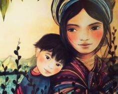 Items similar to mother and child  art print water color on Etsy