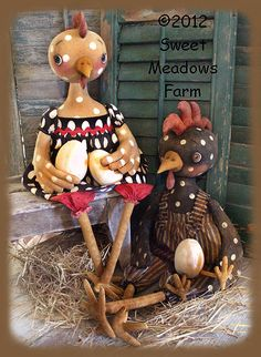 Primitive PATTERN Chicken and Rooster Dolls by SweetMeadowsFarm, $11.00
