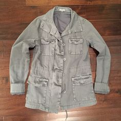 Urban Outfitters utility jacket Super cute grey/blue-ish utility jacket from Urban Outfitters. Made of a thick 100% cotton canvas material with a cotton/polyester lining. It's a beautiful grey/blue color that has intentional wear marks on it to give it a slightly more vintage but edgy look. Gently worn a handful of times and in like new condition! Last picture gives an idea of how to wear such a great jacket! Urban Outfitters Jackets & Coats Utility Jackets