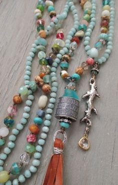 Knotted multi color long necklace - BeachComber - semi precious stone artisan sterling silver leather tassel beach boho from slashKnots on Etsy. Beaded Tassel Necklace, Knot Necklace, Tassel Jewelry, Necklace Types, Beaded Jewelry, Handmade Jewelry, Jewelry Knots, Jewelry Design, Jewelry Making