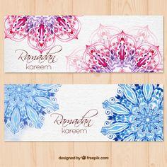 I love the use of mandalas in these banner designs. Not these mandalas exactly. banners Ramadan Kareem da aguarela com mandala Name Card Design, Banner Design, Ramadan Design, Ramadan Poster, Eid Cards, Greeting Cards, Ramadan Greetings, Ramadan Crafts, Banners