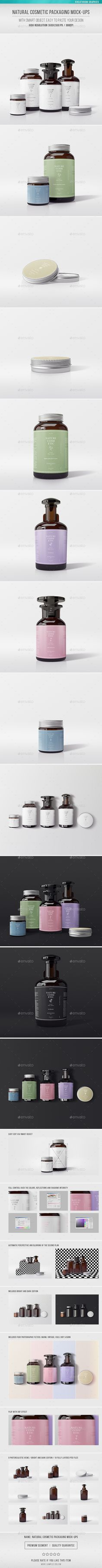 Natural Cosmetic Packaging MockUps — Photoshop PSD #jar #beauty • Available here → https://graphicriver.net/item/natural-cosmetic-packaging-mockups/16639138?ref=pxcr