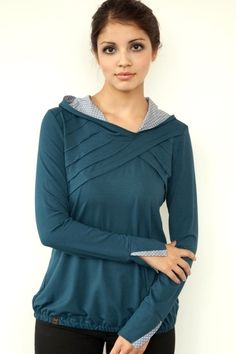 Hoodies - Jersey Hoodie - türkis - Lamellenpaspel - ein Designerstück von stadtkind_potsdam bei DaWanda