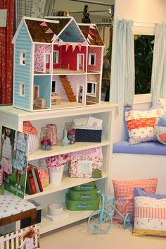 Idea: use fabric as doll house wallpaper, instead of scrapbook paper-----Doll House in Sarah Jane's Booth at Quilt Market SLC