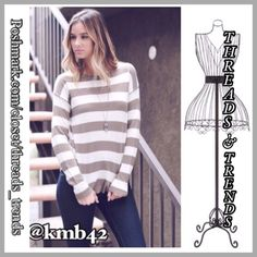 Mocha Knit Striped Sweater Classic knit sweater in mocha & cream stripes with zipper detail closure on back. Made of a knit cotton blend. Size S final price no additional discounts Threads & Trends Sweaters Crew & Scoop Necks