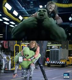 This shot surfaced recently in an effects featurette for The Daily. As films become more tech reliant, it's rather boggling to see just how much they change from what is shot, to their final, theatrical release. Source: thedaily.com