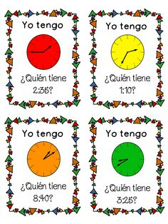 """""""Yo tengo...quien tiene...."""" zip-around game in Spanish to review telling time.  Good for 2nd grade and 3rd grade Spanish immersion teachers.  Helps students practice reading times to the 5 minute interval on an analog clock."""