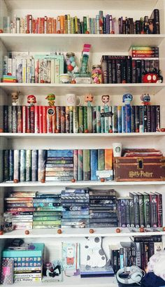 "readfangirleatsleep: "" I can stare endlessly at my shelves without ever getting tired of looking at them ♡ """