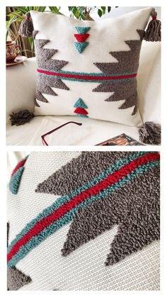 Pillow Crafts, Diy Pillows, Decorative Pillows, Throw Pillows, Boho Pillows, Punch Needle Patterns, Crochet Cushions, Penny Rugs, Rug Hooking