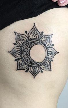 Mandala Sun Tattoo, Mandala Tattoos For Women, Hamsa Hand Tattoo, Moon Sun Tattoo, Hand Tattoos For Women, Mandala Tattoo Design, Sleeve Tattoos For Women, Sun Moon, Tribal Moon Tattoo