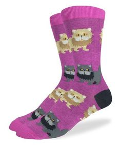 Look what I found on #zulily! Purple Persian Cats Crew Socks #zulilyfinds