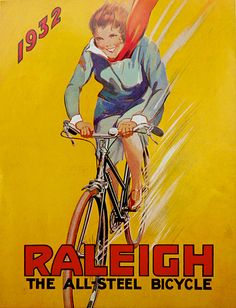 1932 poster by Raleigh, showing a strong and powerful woman speeding to her destination. Her racing foremothers would have been proud.