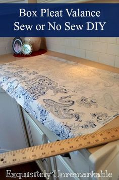 kitchen curtains Box Pleat Valance Pattern Kitchen Remodeling Checklist: Are Your P No Sew Valance, Box Pleat Valance, Valance Tutorial, No Sew Curtains, Rod Pocket Curtains, Custom Curtains, Box Pleats, Valance Curtains, Bedroom Valances