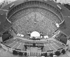 'The World Series Of Rock,' concert on June 1975 - The Rolling Stones play for a sell-out crowd fans) at Cleveland Municipal Stadium, Cleveland, Ohio. Photo by Robert Dorksen/The Plain Dealer. Cleveland Skyline, Cleveland Rocks, Cleveland Ohio, Cleveland Indians, Columbus Ohio, Cincinnati, Cleveland Concerts, Old Photos, Vintage Photos