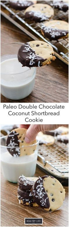Double Chocolate Coconut Shortbread Cookies paleo + gluten free are the perfect buttery, chocolatey crisp cookie that is perfect with a glass of milk or cup of coffee. - A Healthy Life For Me