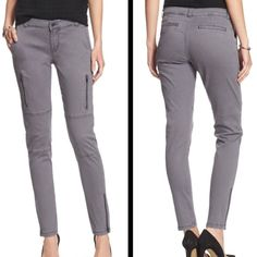 ✨BANANA REPUBLIC skinny pants BANANA REPUBLIC asphalt gray skinny pants.  98% cotton, 2% spandex.  Machine washable.  Zipper accents on thigh and at leg openings.  1st pic is from website to show fit of pants - see last 3 pictures for actual color (asphalt gray).  Brand new with tags! Banana Republic Pants Skinny