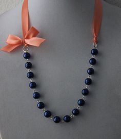 Navy Pearl and Coral Ribbon Bow Necklace by JewelrybyAshNicole