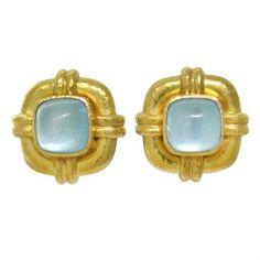 Elizabeth Locke 18K Gold Aquamarine Earrings @ oakgem.com