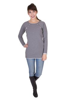 Viva la Mama   high-quality long-sleeved pregnancy and breastfeeding pullover NOVA in greying. A beautiful piece for everyday use, maternity and pregnancy which ensures discreet breastfeeding.