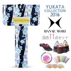 2016 Summer Hanae Mori Yukata Morning Glories Black/Cream 11 items set