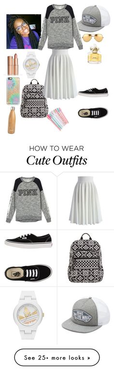 """""""New school outfit #17"""" by andrealadybug on Polyvore featuring Linda Farrow, Vans, adidas, Casetify, Vera Bradley, Chicwish, S'well, Marc Jacobs, women's clothing and women"""