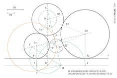 Circunferencia tangentes a circunferencia y recta por puntos. Problema de Apolonio · Dibujo Técnico Dado, Plane Geometry, Drawing Techniques, Dots