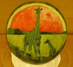 50 Outstanding Fruit Carvings, we love the goldfish and the gaming watermelon!  Would you ever try something like this? #fruit carving #amazing fruit carving