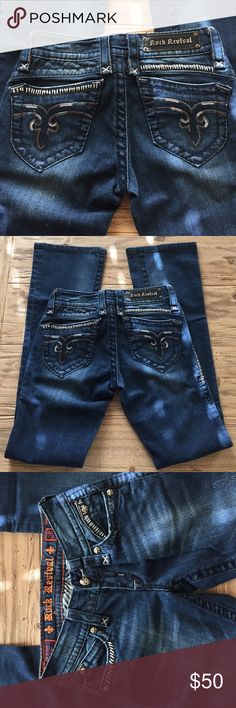 "Rock Revival ladies size 26/33 Amy boot cut jeans Rock Revival ladies size 26 Amy style boot cut blue jeans. Good used condition. Has some distress on the front but not a lot. All hardware is in tact.  Inseam is slightly longer than 33"". Rock Revival Jeans Boot Cut"