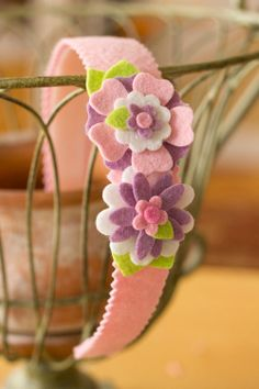 Wool Felt Headband - Garden Collection - Pink Wisteria by PrettyinPosies