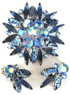JULIANA Blue Rhinestone Foil Glass Cabochon Pin Earring Set