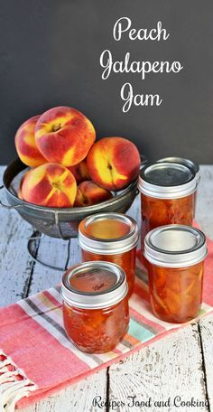Jalapeno Jam Peach Jalapeno Jam - Sweet Georgia peaches and jalapenos in this sweet and spicy jam. Recipes Food and CookingPeach Jalapeno Jam - Sweet Georgia peaches and jalapenos in this sweet and spicy jam. Recipes Food and Cooking Peach Jalapeno Jam, Peach Jam, Peach Jalapeno Jelly Recipe Canning, Blackberry Jelly Recipe, Sweet Peach, Pepper Jelly Recipes, Jalapeno Recipes, Hot Pepper Jelly, Sauces