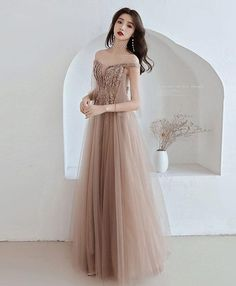 Champagne tulle off shoulder long prom dress, champagne evening dress, Shop plus-sized prom dresses for curvy figures and plus-size party dresses. Ball gowns for prom in plus sizes and short plus-sized prom dresses for Tight Prom Dresses, Homecoming Dresses, Sexy Dresses, Evening Dresses, Fashion Dresses, Formal Dresses, Long Dress Formal Elegant, Elegant Dresses For Women, Long Prom Gowns