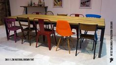 vintage industrial table chairs - large dining area