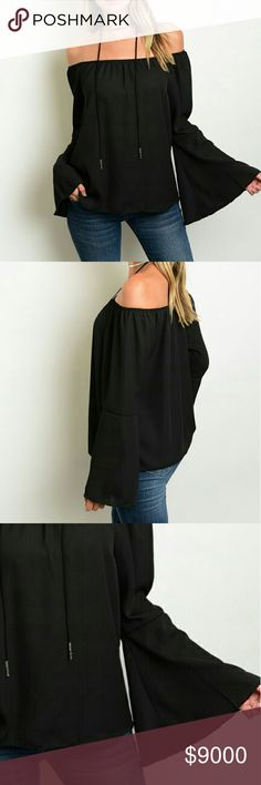1 DAY SALENew Off Shoulder Top This beautiful off the shoulder chiffon top features a long bell sleeve.  If unsure of what size to order, just ask and I can provide measurements.   Material: 100% polyester   No trades  ✔Reasonable offers considered Tops Tees - Long Sleeve