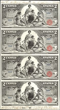 US 2 Dollar Note Series 1896 Serial Signatures: Tillman / Morgan Science presenting Steam & Electricity to Commerce & Manufacture Portraits: Robert Fulton & Samuel F.