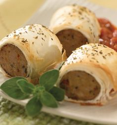 al fresco Sundried Tomato Chicken Sausage Bites wrapped in phyllo dough appetizers #SuperBowl Phyllo Recipes, Best Appetizer Recipes, Yummy Appetizers, Appetizers For Party, Snack Recipes, Game Recipes, Appetizer Ideas, Party Snacks, Kitchens