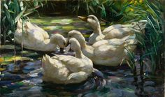 Image result for paintings of ducks on water