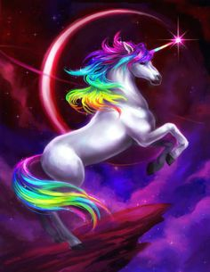 Unicorn with a rainbow mane against Saturn? How much more magic can you get!?