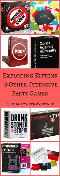If you want some less than traditional party games, consider games such as Exploding Kittens and others that are sure to make your guests gasp and giggle. Funny Party Games, Slumber Party Games, Kids Party Games, Birthday Party Games, Fun Games, Dice Games, Sleepover, Group Games For Kids, Games For Toddlers